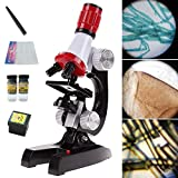 OneSky-UK Microscope Kit with LED for Kids Beginners, 100X, 400X, and 1200X Magnifications