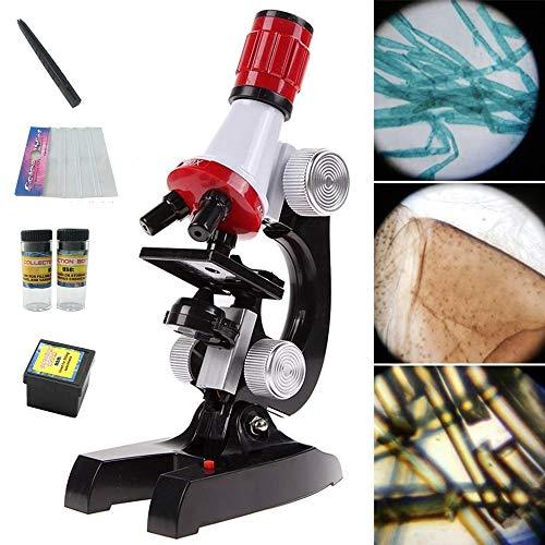 OneSky-UK Microscopio Kit con LED para niños Principiantes, Aumentos de 100X, 400X y 1200X, Ciencia Educativa Juguetes Regalos