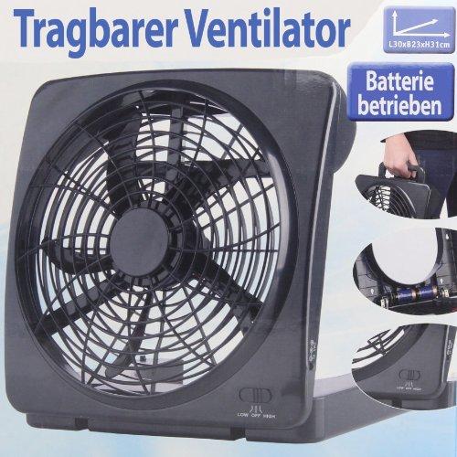 Ventilator tragbar batteriebetrieben klappbar schwarz 30 cm