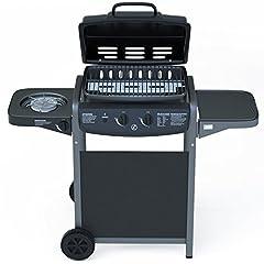 Idea Regalo - EGLEMTEK Barbecue Grill BBQ a Gas con Termometro - Bruciatore fornello Laterale - Griglia per Giardino, Picnic e Terrazzo - in Acciaio Nero Laccato e ABS - (112 x 52.5 x 96.5 cm)