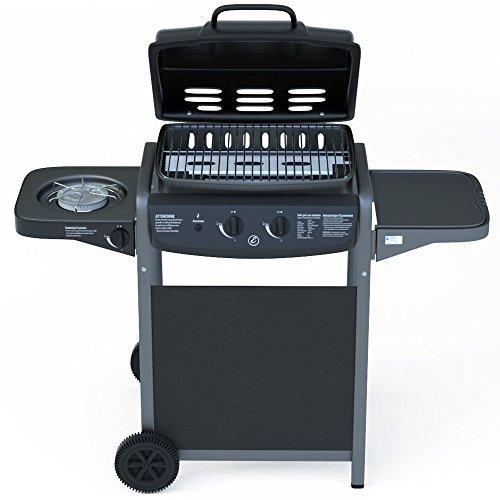 Eglemtek barbecue grill bbq a gas con termometro - bruciatore fornello laterale - griglia per giardino, picnic e terrazzo - in acciaio nero laccato e abs - (112 x 52.5 x 96.5 cm)