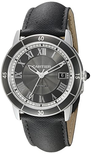 Cartier Men's 42mm Black Alligator Leather Band Steel Case Automatic Grey Dial Analog Watch WSRN0003