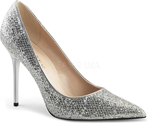 Pleaser - Classique-20, Pumps da donna Slv Glittery Lame Fabric