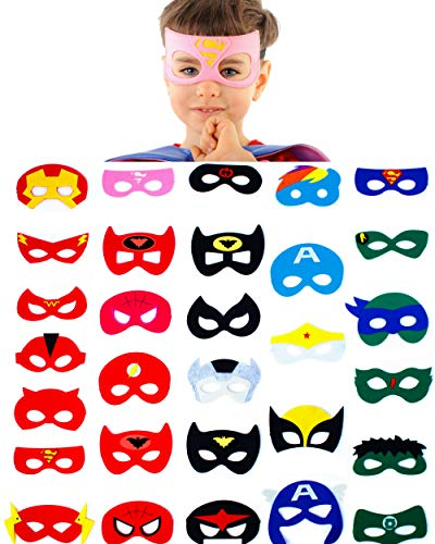 Dropplex 30 Superhero Masks Kids-Super Hero Party Supplies Justice League Birthday Favors