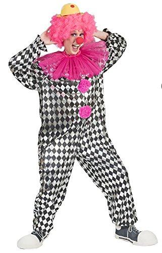 Clown Peppi Kostüm für Damen - Schwarz Weiß - Lustige Pierrot Harlekin Verkleidung zum Thema Zirkus (Lustig Einfache Gruppe Kostüm)