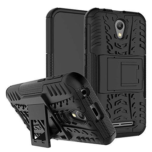 ZTE Blade L110 Hülle, SMTR 2in1 Ultra Slim Silikon Rückseite Schutzhülle, mit Standfunktion und Advanced Shock Absorption Technology hülle für ZTE Blade L110 , Schwarz