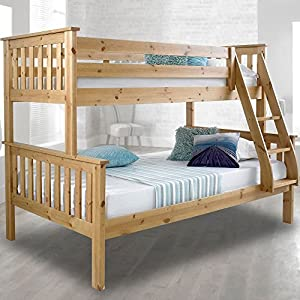 Happy Beds Atlantis Wooden Bunk Bed 3ft Single Solid Pine 2x Mattress Furniture (Pine, 3FT - Frame Only)
