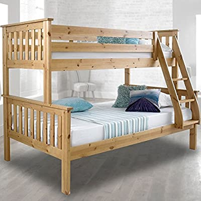 Happy Beds Atlantis Wooden Bunk Bed 3ft Single Solid Pine 2x Mattress Furniture (Pine, 3FT - Frame Only) - inexpensive UK light shop.