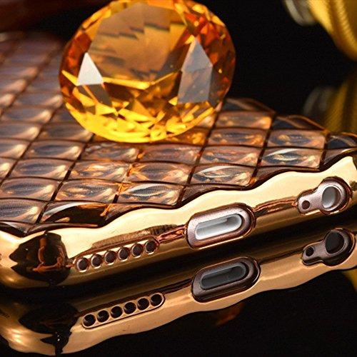 "Skitic für iPhone 6 / 6S (4.7"") Hülle, Gradient Air Cushion Glitzer Soft flexibel Silikon Rahmenschutz Tasche Etui für Apple iPhone 6 / 6S Diamant TPU Matt Dünn Transparent Schutzhülle Lattice Grid Qu Gold"