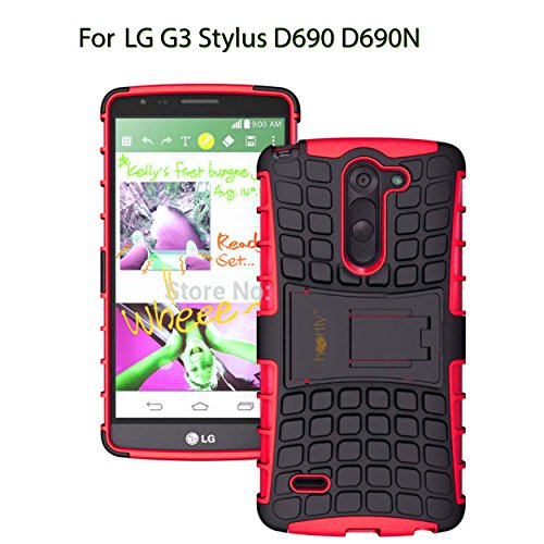 Heartly Flip Kick Stand Spider Hard Dual Rugged Armor Hybrid Bumper Back Case Cover For LG G3 Stylus D690 D690N Dual Sim - Hot Red