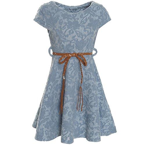 BEZLIT Kinder Mädchen Kleid Peticoat Fest Freizeit Sommer-Kleider Kostüm 21228, Farbe:Blau;Größe:128 (Kleid Kurzarm Kostüme)