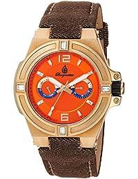 Burgmeister Reloj de cuarzo Hombre Naranja con esfera analógica pantalla y pulsera de tela y lienzo marrón BM220 – 390 – 1