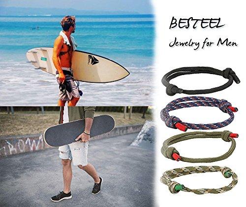 Imagen de besteel 4 piezas náuticas pulseras trenzadas para hombres brazalete marina cuerda cadenas pulsera ajustable alternativa