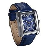 JewelryWe Herren Armbanduhr, Retro Kalender Analog Quarz Uhr mit Rechteckig Römischen Ziffern Zifferblatt und Leder Armband, Farbe: Blau