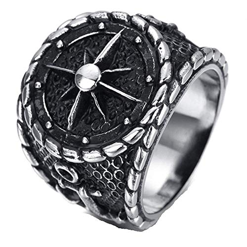 XDBMK Acciaio Inossidabile Tono Argento Nero di Ancoraggio timonerie nautiche per Anelli Ruota Mens per Mens