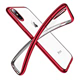 Humixx Cover iPhone X/Cover iPhone 10,Custodia iPhone X, Crystal Clear Morbido TPU Silicone Cover Placcatura Bumper Case Ultra Sottile Anti-graffio Shock-Absorption per Apple iPhone X [Supporta la Ricarica Wireless] (iPhone X, rosso)