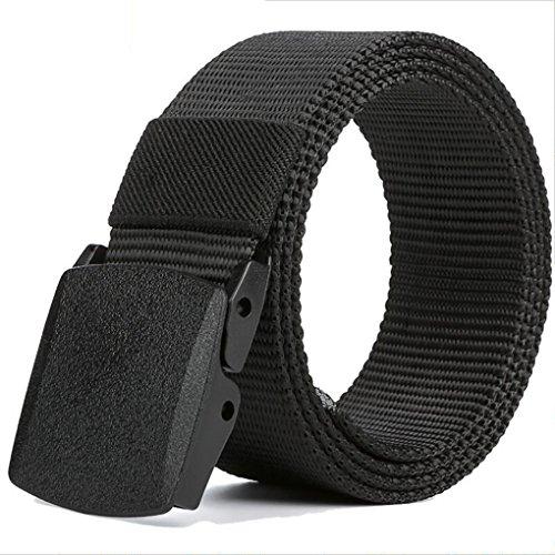 QHGstore toile de boucle de ceinture Pas de plastique métallique ceintures de plein air pour hommes jean casual de ceinture armée verte bleu blanc