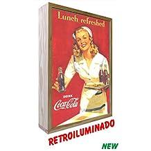 Cartel Vintage de Madera Iluminados. Coca-Cola Lunch Refreshed (30_x_50_cms)