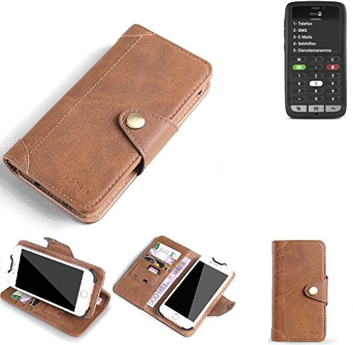 K-S-Trade Hülle für Doro 8031C Schutz Hülle Tasche Handyhülle Schutzhülle Handytasche Wallet case Flipcase Cover Kunstleder Braun
