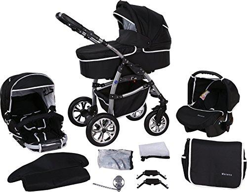 Milk Rock Baby Macano S Kinderwagen mit 3 Gestellfarben (Autositz, Regenschutz, Moskitonetz, Schwenkräder) MO23 Silver / Schwarz & Naht Weiß