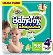 Babyjoy  Compressed Tape Diaper, Mega Pack Large+ Size 4+, Count 56, 12 - 21 KG
