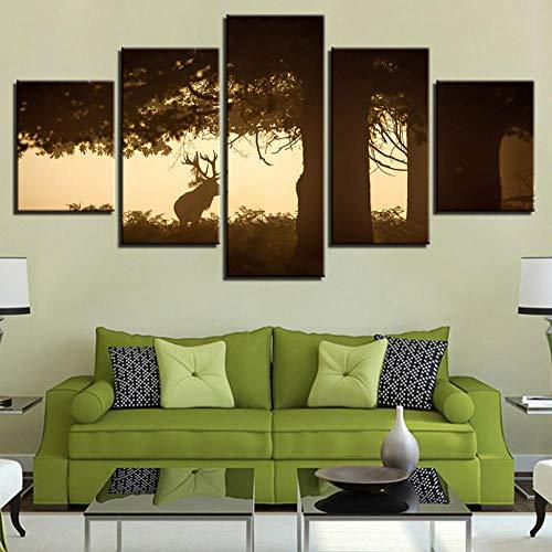 Vandelkt Leinwand Gemälde Wandkunst 5 Stücke Hirsch Unter Dem Großen Baum Sonnenuntergang Tier Dollar Poster Wohnkultur Frame L