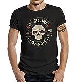 Gasoline Bandit- Camiseta manga corta para ombre, negro, S