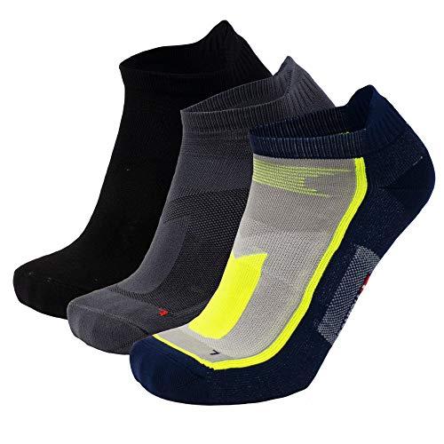 Calcetines de Deporte Low Cut Pack de 3 (Multicolor: 1 x Negro, 1 x Gris, 1 x Azul/Amarillo neón, EU 39-42)