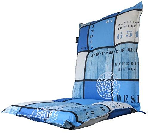 8 cm Luxus Niederlehner Auflage A 033', blau kariert mit Schriftzug, 105 x 50 x 8 cm