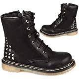 Ladies Womens Girls Low Heel Classic Lace Up Combat Biker Ankle Goth Boots
