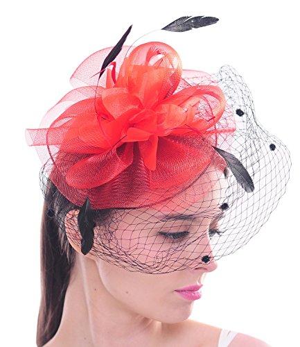 Fleur ¨¦l¨¦gante voile en forme fillet de maille a pois Fascinator pince ¨¤ cheveux chapeaux en plume pour mariage et soir¨¦e Cocktail Rouge