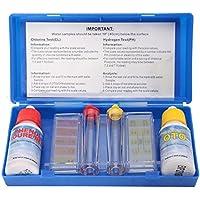 Proglam - Kit de Prueba de Calidad de Agua de Cloro PH, Kit de Prueba de hidroherramientas, Accesorios para Piscina