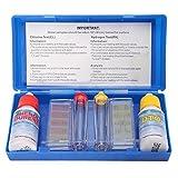 lzndeal Kit Teste d'eau Piscine - Trousse d'analyse d'eau Piscine - Test Kit Chlore pH Testeur - Kit d'Accessoires Piscine - Set PH Chlore Kit de Test de Qualité de...
