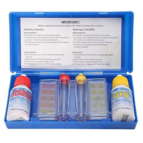 ZREAL Wassertest-Set Pool - Set für Wasseranalysen Pool - Test Kit Chlore pH Tester - Zubehör-Set Pool - Set PH Chlore Set Wasserqualität Hydrotool