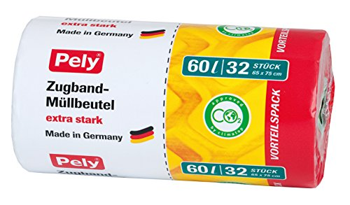 pely 8531 - Sacchetti trasparenti a tiranti multipli, 60 litri, confezione da 32 pezzi, giallo