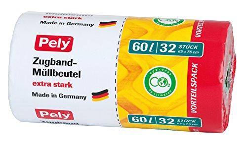 Pely 8531 - Bolsas basura tiras cierre 60 L, 32 unidades