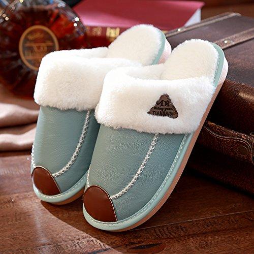 DogHaccd pantofole,Il cotone pantofole inverno femmina home interior coppie costolette di manzo pelle spessa impermeabile non-slip maschile di casa calda felpa pantofole Il verde1