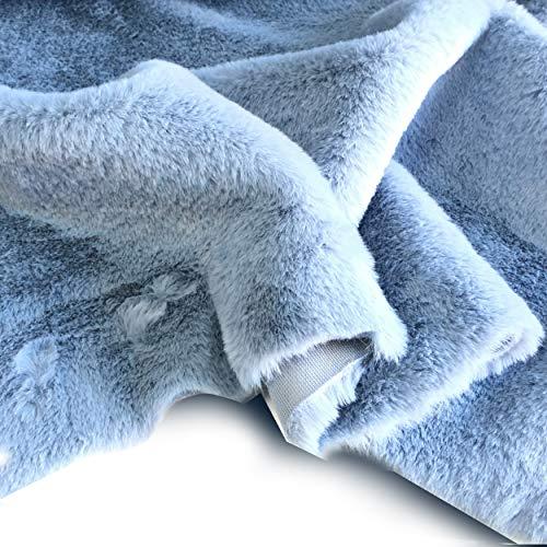 Tessuto eco pelliccia peluche per abbigliamento - a metraggio a partire da 50 cm di lunghezza x 155 cm di larghezza fissa (1/2 metro, azzurro chiaro)