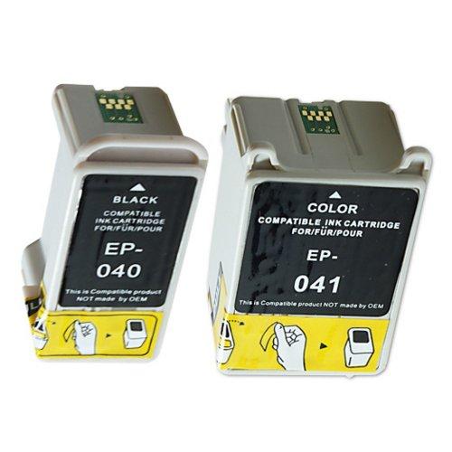 2 Druckerpatronen Tinte für Epson Stylus C62 CX3200 erstzen Epson T040 und T041 (Schwarz Tinte Cx3200 C62)