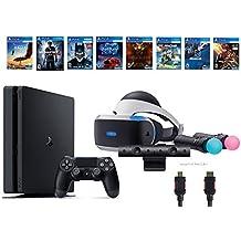 PlayStation VR Start Bundle 10 Items:VR Start Bundle,PS4 Slim- Uncharted 4,7 VR Game Disc Until Dawn:Rush of Blood, EVE:Valkyrie,Battlezone,Batman:Arkham VR, DriveClub,Eagle Fli(Version US, Importée)