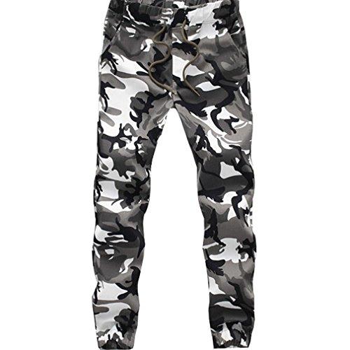 WTUS – Sottile Pantaloni Nero– Di tuta – Sportivi – Motivo mimetico – Tasche – Da uomo Bianco
