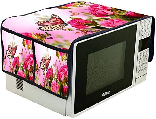 Microwave Oven Top Cover Freesize with Utility 4 Pockets - Fabric PVC Shock Proof & Water Proof (Butterfly Rose)