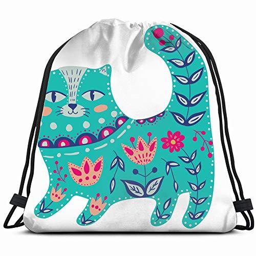 Kunst Aquarell Schöne Katze Tiere Wildlife Kordelzug Rucksack Fitnessraum Geräumige Zugschnur Rucksack Multifunktionale Aufbewahrungstasche 14,2 X 16,9 Zoll -