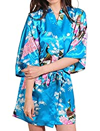 DELEY Mujer Albornoces Kimono Pavo & Flores Satén Pijamas Exóticos Ropa De Dormir Bata Corto