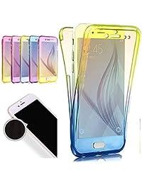 Nadoli 360 Grad Handyhülle für Galaxy Note 9,Transparent Full-Body Weich Flexibel Gradient Gelb + Blau Durchsichtig Schutzhülle für Samsung Galaxy Note 9,Gelb + Blau