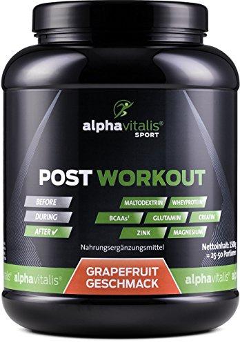 POST WORKOUT Shake mit Maltodextrin, Whey Protein, BCAA, Creatin, L-Glutamin, Magnesium uvm. - 1500g - Grapefruit - Die wichtigsten Nährstoffe nach deinem Workout! (Grapefruit, 1500g) EINWEG - Essentielle Nährstoffe