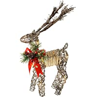 WeRChristmas Pre-Lit Rattan Warm White LED Reindeer with Red Ribbon, Snow and a Dusting of Glitter, 53 cm - Multi-Colour