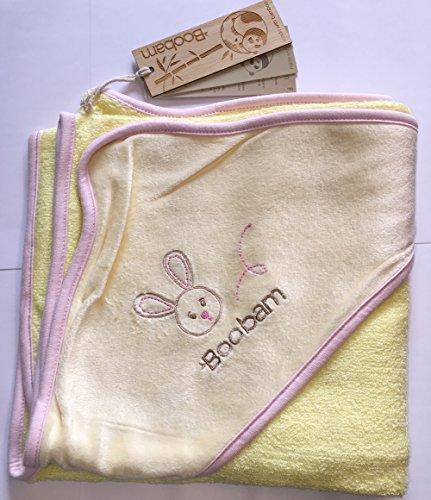 Boobam Bambus Badetuch mit Kapuze / Kapuzenhandtuch . Süßes Hasenmuster. Gelb-creme-rosa. Antibakteriell für Allergiker geeignet ohne chemische Zusätze