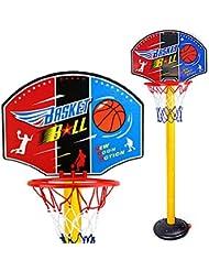 Finer Shop 63-150cm Niños del Deporte del Baloncesto Plástico Portable Tablero de Baloncesto Stand-5 Sección Altura Ajustable con el Índice de Inflación