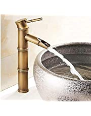 Premium Heavy Single Lever Basin Mixer ~ 30 Cms Height Table Mounted with 2 Braided Connection Pipes 450mm Hot and Cold (Bamboo)